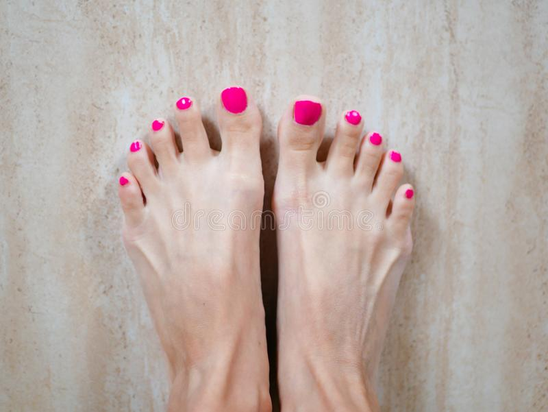Feet with pink nails. Pink perfect pedicure on your feet. Women`s legs. The result of the spa procedure royalty free stock photos