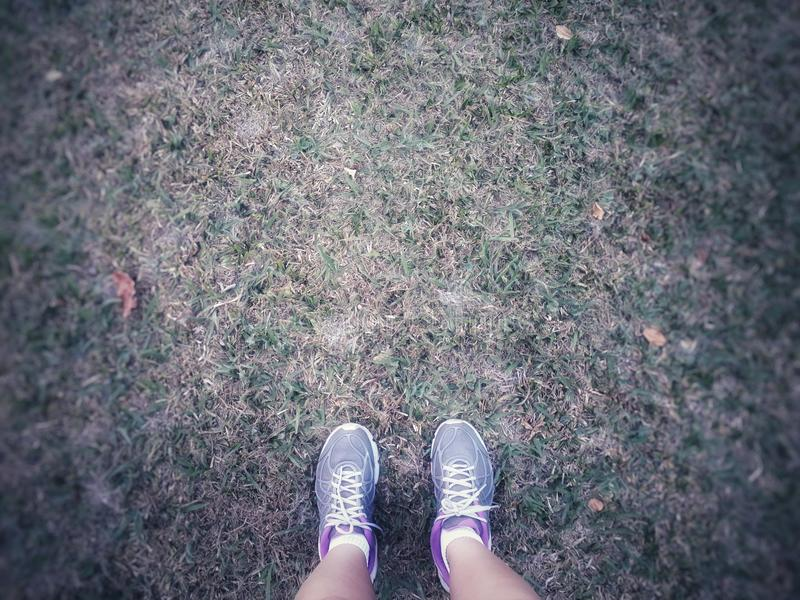 Feet ready for hiking. Gray tennis shoes. Grass in the background royalty free stock photos