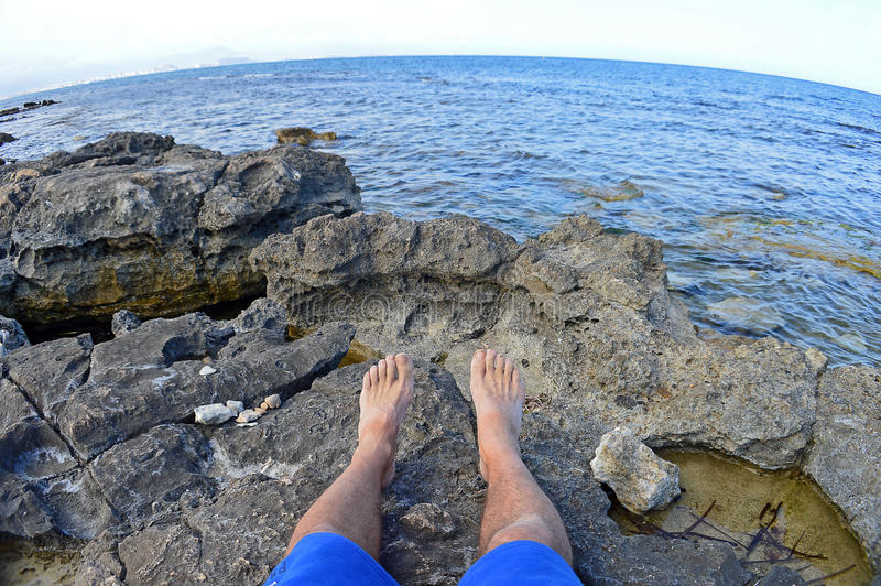 Feet On Rocks royalty free stock image