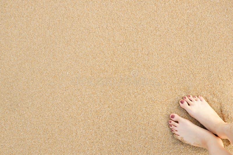 Selfie Woman Feet on Sea Sand Beach Background stock image