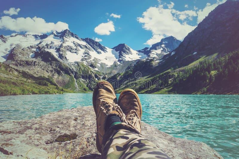 Feet Selfie Traveler relaxing with lake royalty free stock image