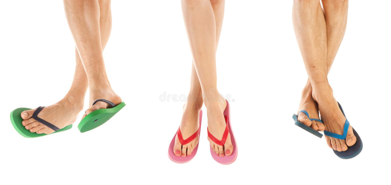 Feet in summer flip flops royalty free stock photography