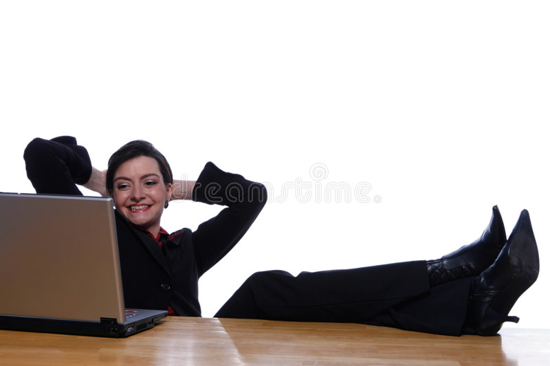 Feet Up on Desk, Easy Does It royalty free stock photos