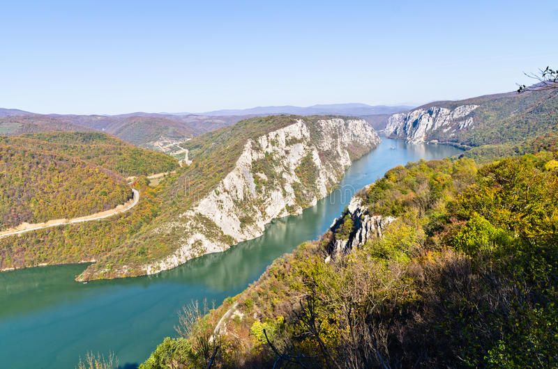 2000 feet of vertical cliffs over Danube river at Djerdap gorge and national park. East Serbia royalty free stock photos