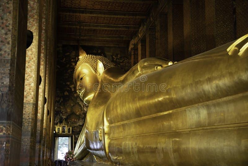 Feet view of the Reclining Buddha in Bangkok stock image