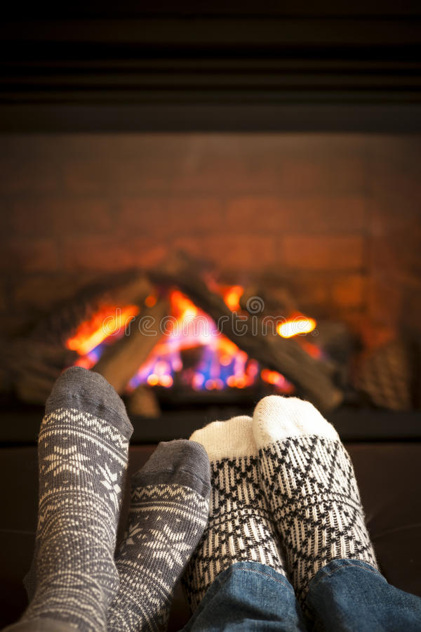 Feet Warming By Fireplace Royalty Free Stock Photography ...