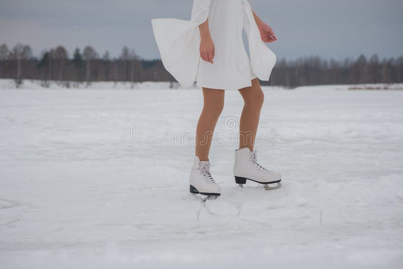Woman in skates royalty free stock image