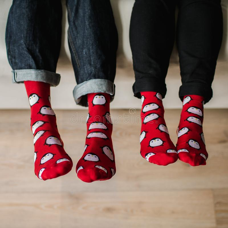 Feet in woollen socks. Pair relaxing with a cup of hot drink and warming up their feet in woollen socks. royalty free stock images