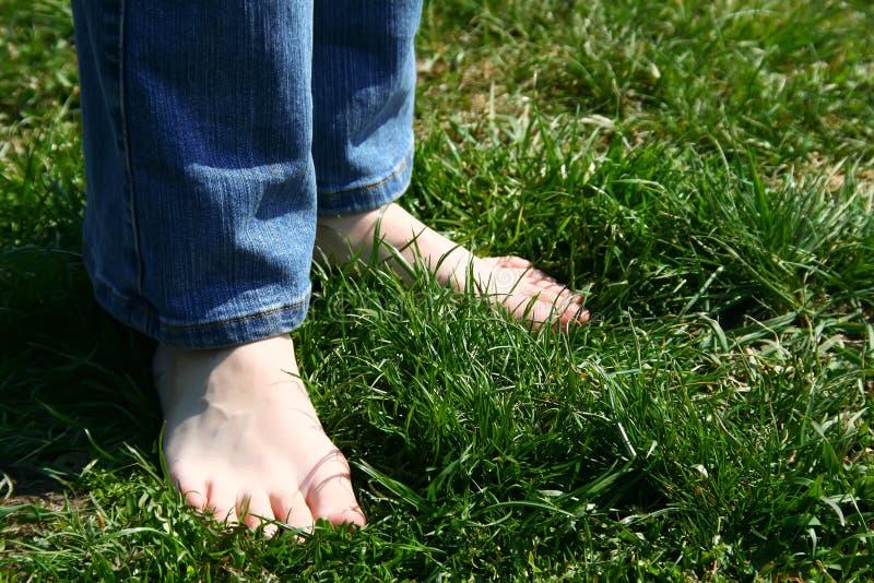 Feets sur l'herbe photo libre de droits
