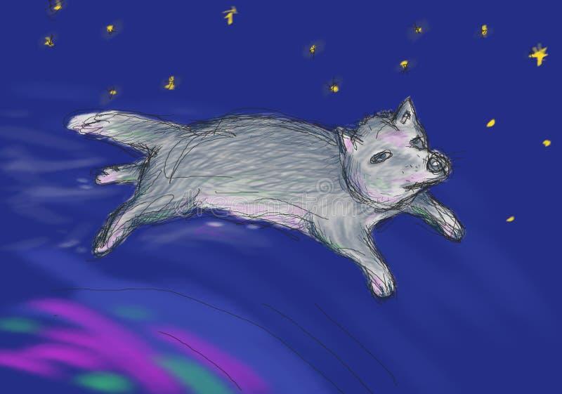 Feewolf die over de noordelijke lichten in ruimte vliegen Illustratie voor het boek van kinderen, metaforische kaarten, oosterse  royalty-vrije illustratie