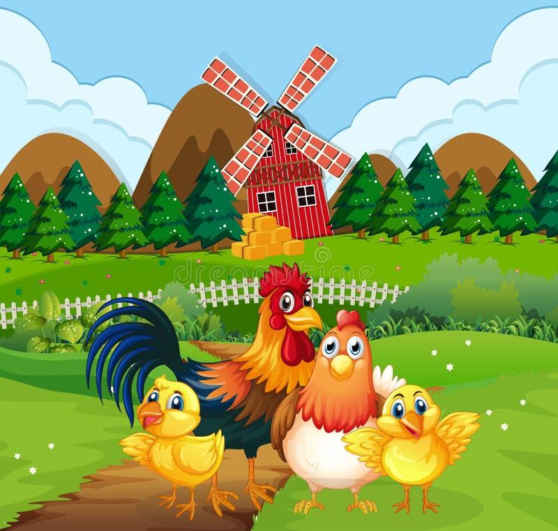 Feg familj p? jordbruksmark vektor illustrationer