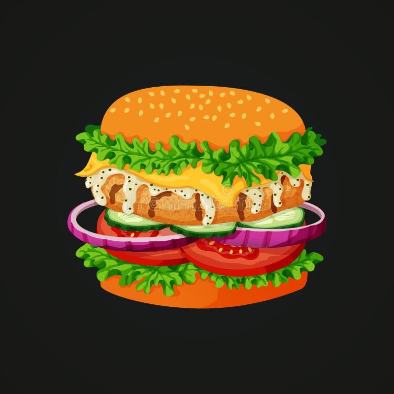Feg hamburgaresymbol vektor illustrationer