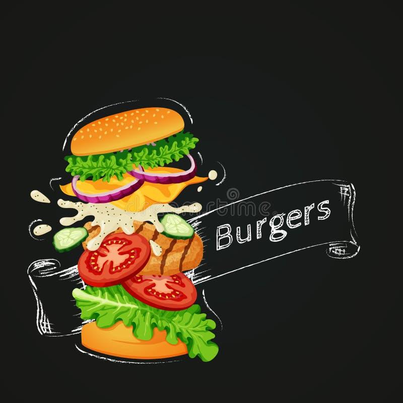 Feg hamburgaresymbol Ingredienser för flyghamburgarevisning med översikten och bandet som dras med krita stock illustrationer