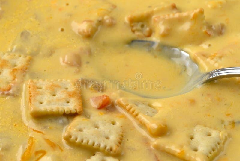 Feg havretjock skaldjurssoppa med ost och smällare med en sked i maten arkivfoto