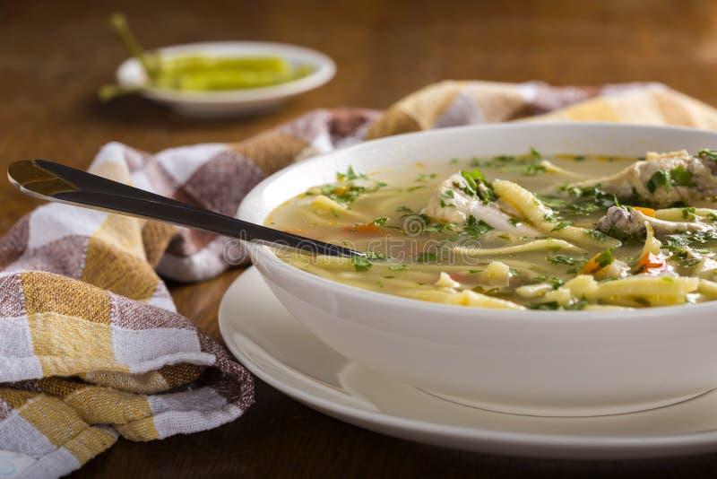 Feg soppa med nudlar och nya grönsaker i bunke med spoo arkivbilder