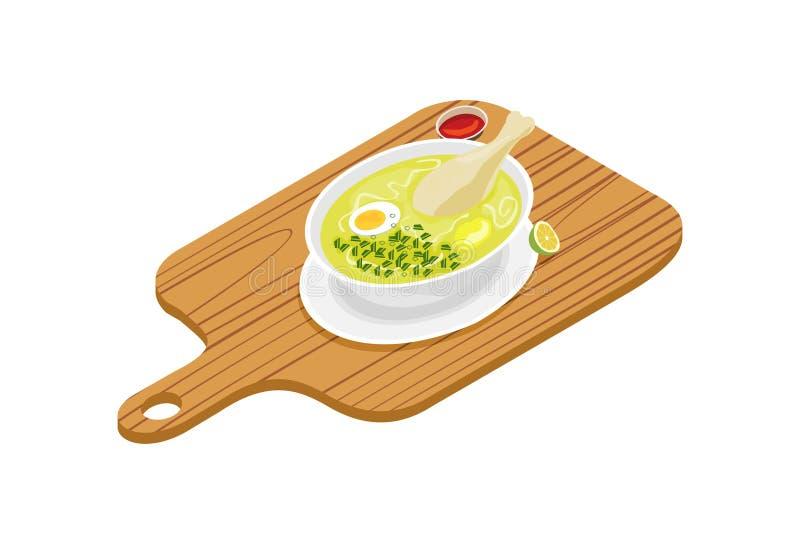 Feg soppa med potatisar, kokt ägg vektor illustrationer