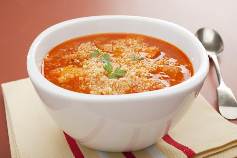 Feg Soup för tomat med Couscous royaltyfri fotografi