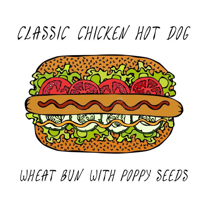 Feg varmkorv för klassiker på en sesambulle med grönsallatsallad, tomat, gurka, senap, ketchup Gatasnabbmatsamling Reali vektor illustrationer