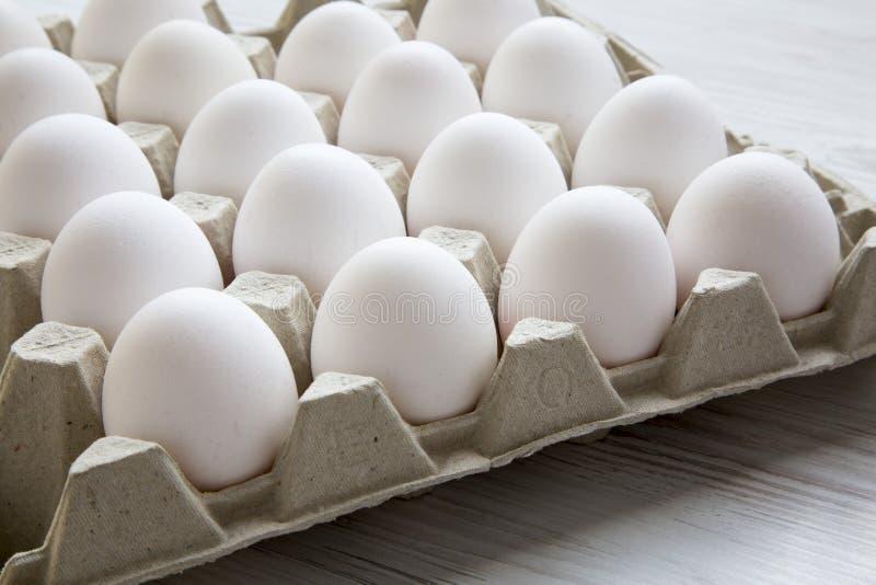 Fega ägg i lådaäggasken, closeup royaltyfria bilder