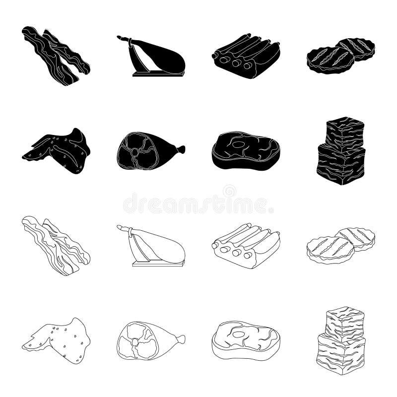 Fega vingar, skinka, rå biff, nötköttkuber Fastställda samlingssymboler för kött i svart, materiel för symbol för översiktsstilve vektor illustrationer