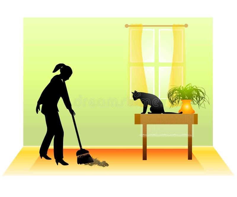 Fegen des Fußbodens mit Katze stock abbildung