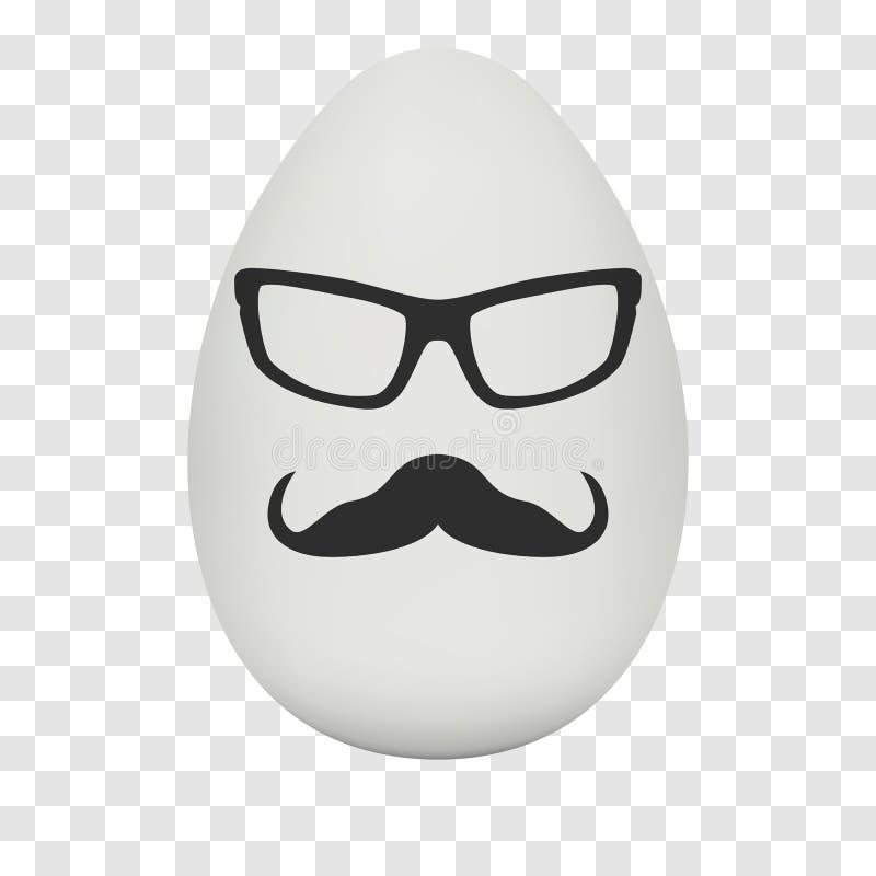 Fegt ägg med hipstermaskeringen vektor stock illustrationer
