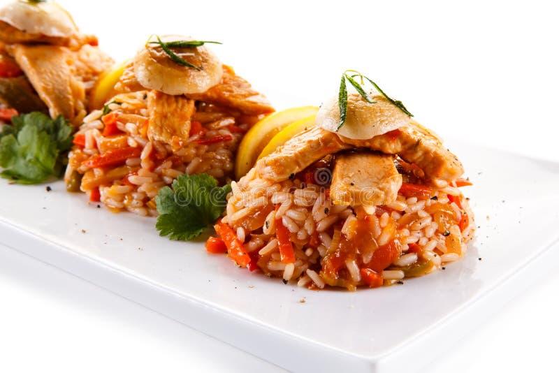 Fegt kött med ris royaltyfri bild