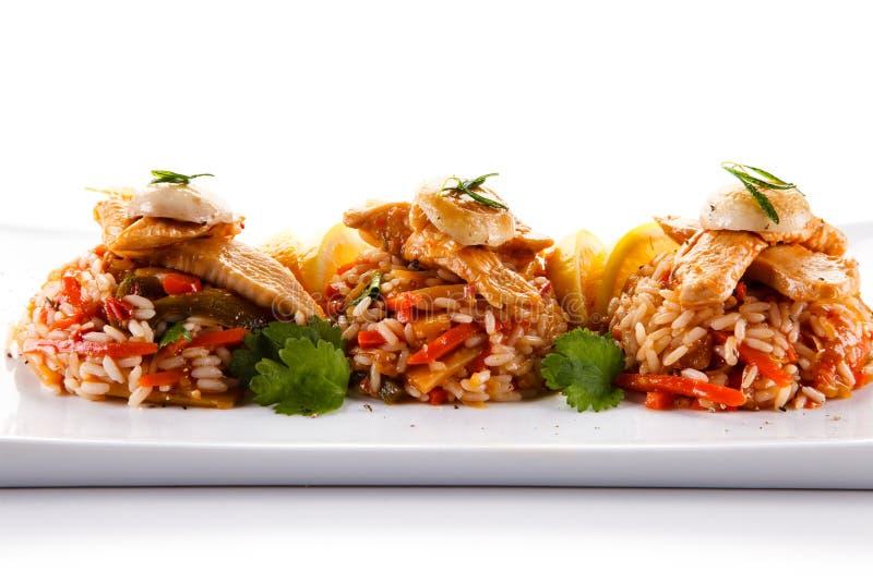 Fegt kött med ris fotografering för bildbyråer