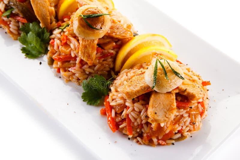 Fegt kött med ris royaltyfria bilder