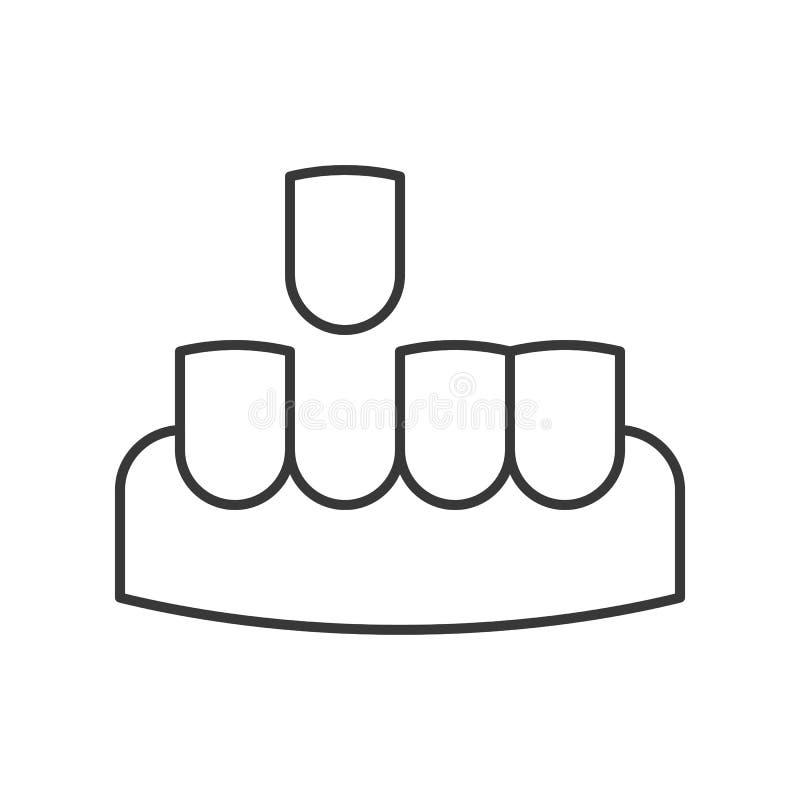 Fehlender Zahn, einfacher Zahnpflegesatz der Entwurfsikone stock abbildung