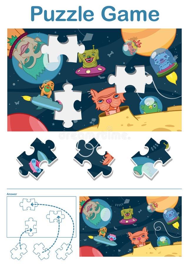 Fehlendes Stückrätselspiel mit ausländischen Raumtieren lizenzfreie stockfotos