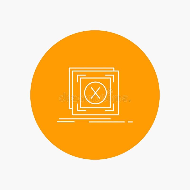 Fehler, Anwendung, Mitteilung, Problem, Server weiße Linie Ikone im Kreishintergrund Vektorikonenillustration lizenzfreie abbildung