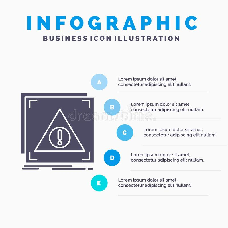 Fehler, Anwendung, verweigert, Server, wachsame Infographics-Schablone für Website und Darstellung Graue Ikone des GLyph mit Blau vektor abbildung