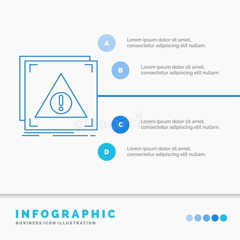Fehler, Anwendung, verweigert, Server, wachsame Infographics-Schablone f?r Website und Darstellung Linie infographic Art der blau stock abbildung