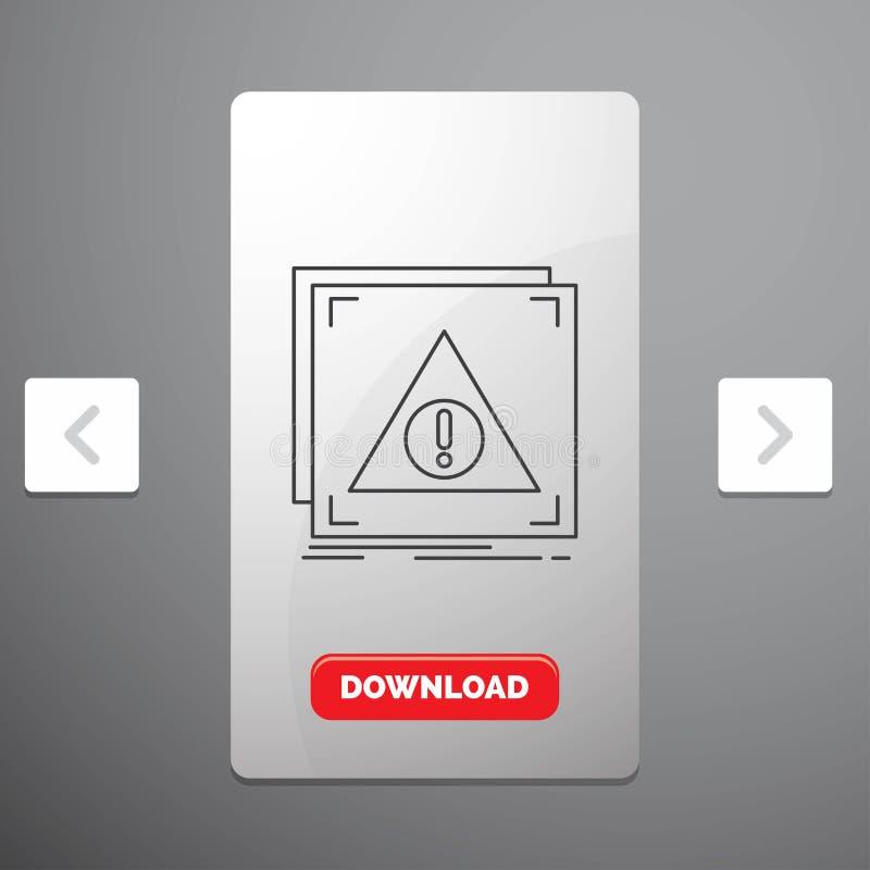 Fehler, Anwendung, verweigert, Server, wachsame Linie Ikone im Carousals-Paginierungs-Schieber-Entwurf u. roter Download-Knopf lizenzfreie abbildung