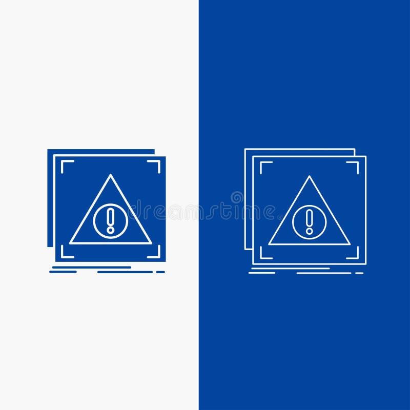 Fehler, Anwendung, verweigert, Server, wachsames Linien- und Glyphnetz Knopf in der blaue Farbevertikalen Fahne für UI und UX, We lizenzfreie abbildung