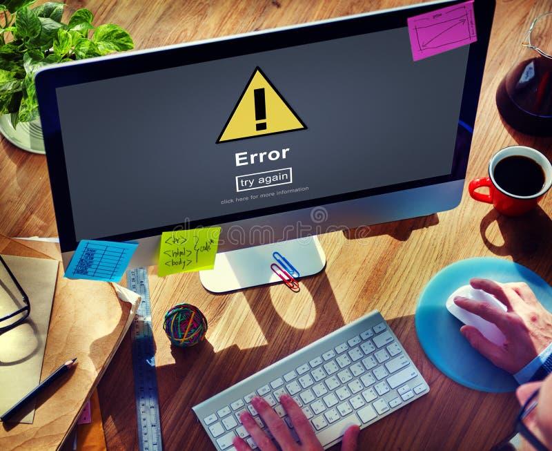 Fehler-Fehler-on-line-Anzeige passen wachsames Konzept auf lizenzfreie stockbilder