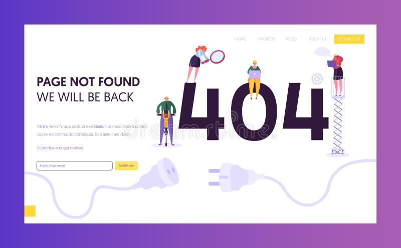 Fehler-Landungs-Seiten-Schablone der Wartungs-404 Seite nicht fand im Bau Konzept mit den Charakteren, die Problem regeln vektor abbildung