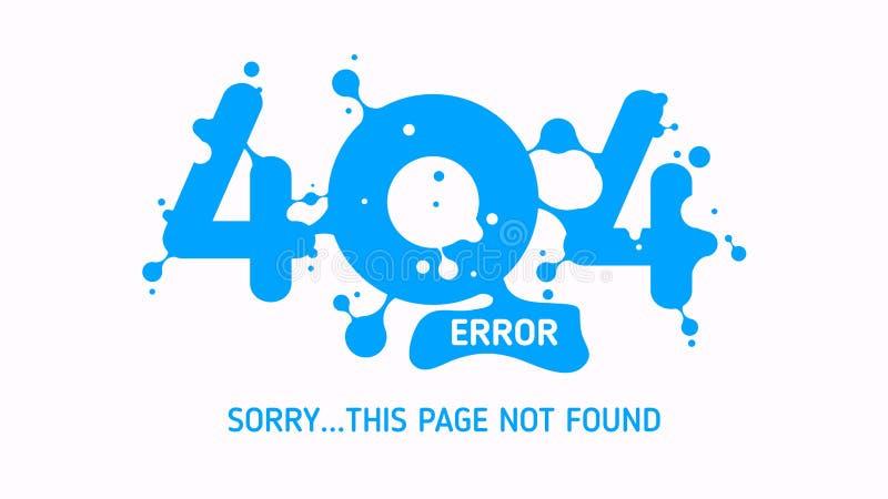 Fehler mit 404 Flüssigkeiten oder gefundenes Design der Seite nicht stock abbildung