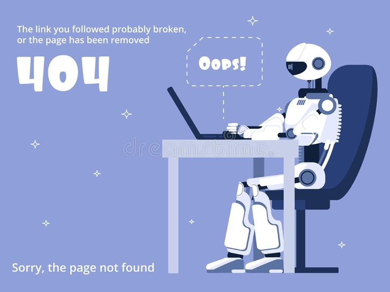 Fehler 404 Nicht fand Websiteseite mit Roboter und Warnung Rand der Farbband-, Lorbeer- und Eichenblätter stock abbildung