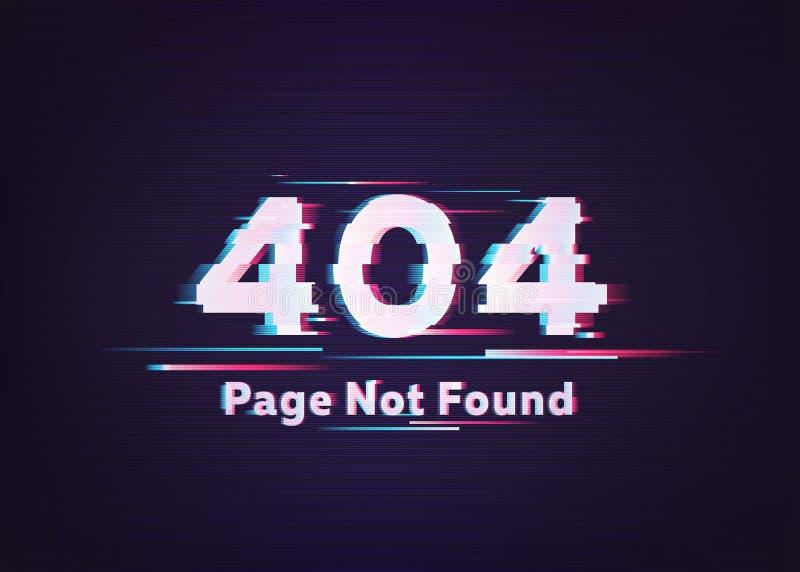 Fehler 404 Seite nicht gefunden Störschub-Vektorillustration stockfoto