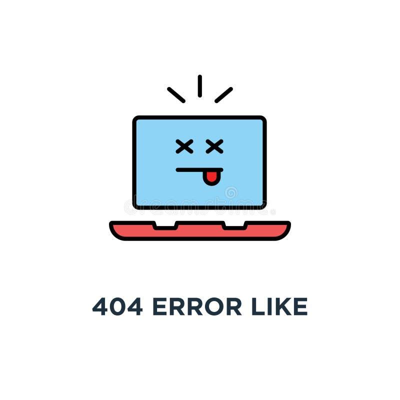Fehler 404 wie Laptop mit toter emoji Ikone, Symbol der Seite nicht fand oder Website im Bau oder Wartungskonzeptkarikatur lizenzfreie abbildung