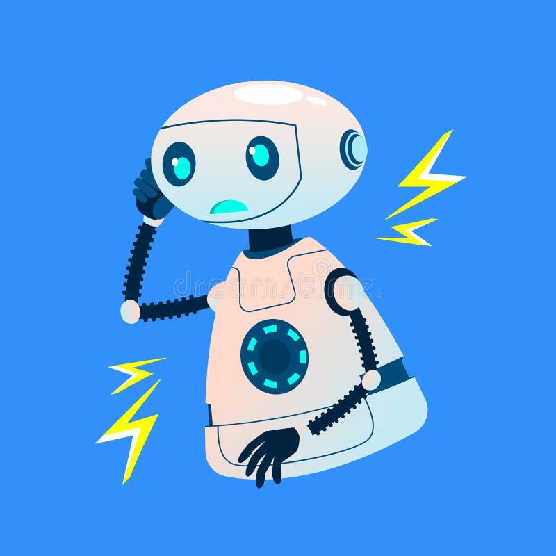 Fehlerhafter defekter Roboter strahlt elektrische Entladungs-Vektor aus Getrennte Abbildung lizenzfreie abbildung