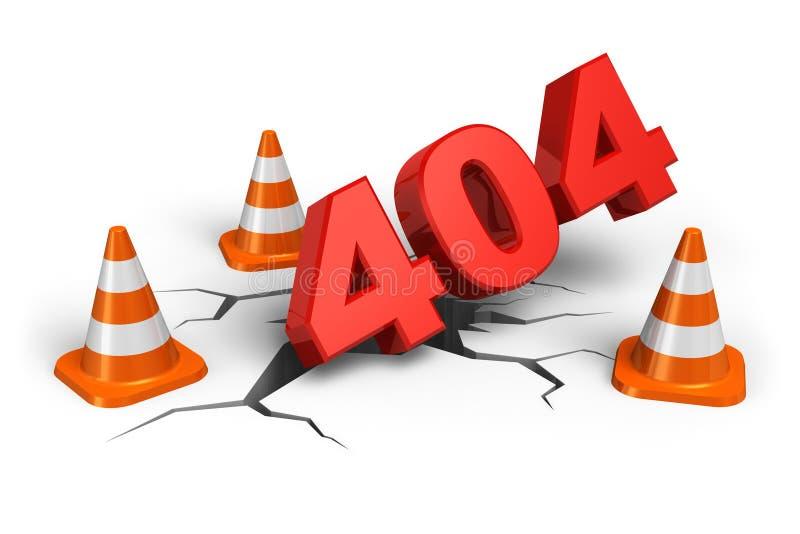 Fehlerkonzept mit 404 Webseiten lizenzfreie abbildung