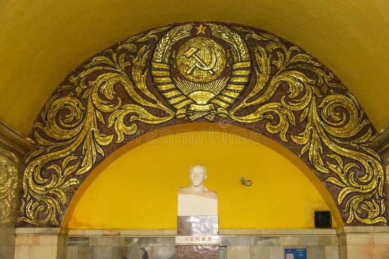 Fehlschlag von Vladimir Lenin an Komsomolskaya-Station in der Moskau-Metro lizenzfreie stockfotografie