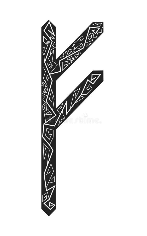 Fehu rune. Ancient Scandinavian runes. Runes senior futarka. Magic, ceremonies, religious symbols. Predictions and amulets. Ornament lightning. White royalty free illustration