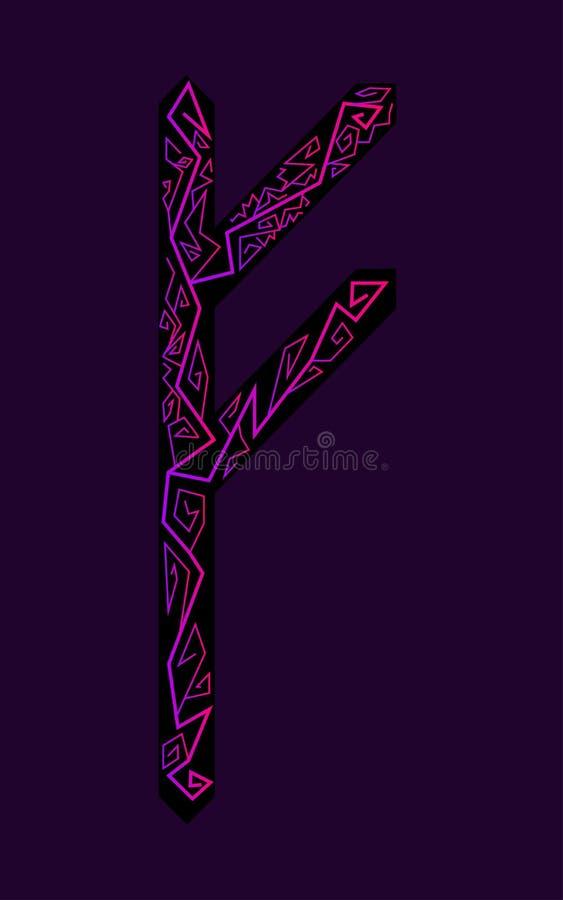 Fehu rune. Ancient Scandinavian runes. Runes senior futarka. Magic, ceremonies, religious symbols. Predictions and amulets. Ornament lightning. Dark background stock illustration