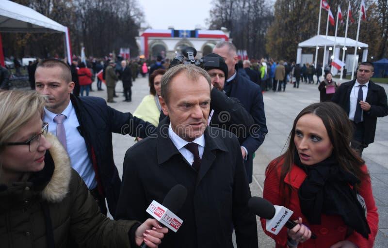 Feier des 100. Jahrestages der Wiedergewinnung von Unabhängigkeit durch Polen lizenzfreies stockfoto