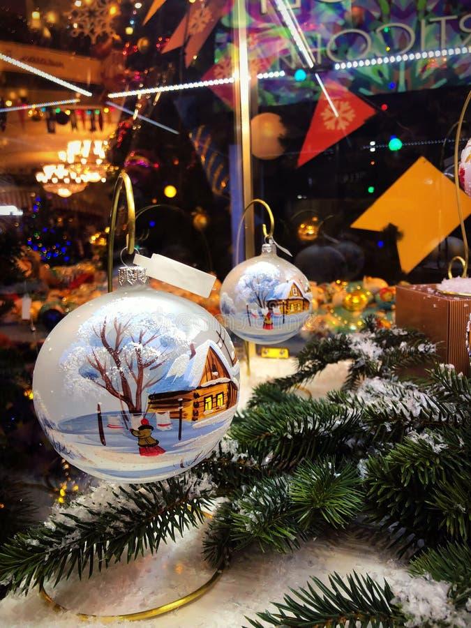Feier des neuen Jahres in Moskau, Dekorationen im GUMMI-Speicher lizenzfreie stockbilder