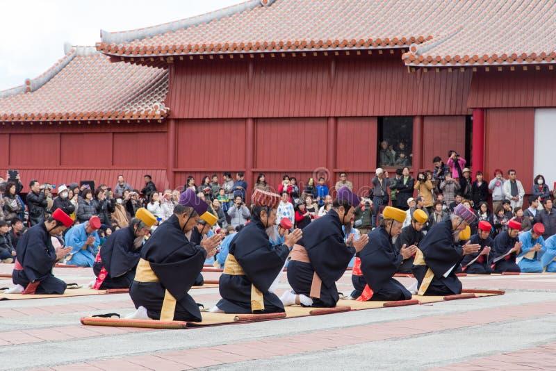 Feier des neuen Jahres an Shuri-Schloss in Okinawa, Japan lizenzfreie stockfotos